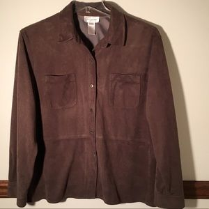Dark Olive Suede-Like Shirt Jacket